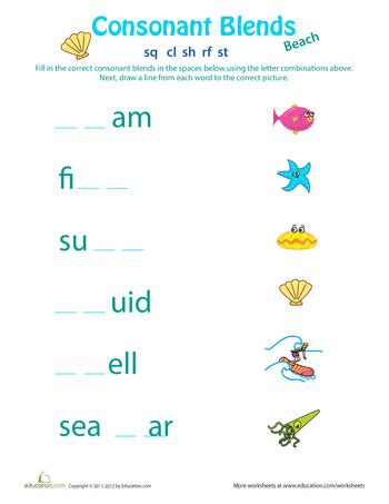 consonant clusters worksheets 2nd grade consonant clusters teaching worksheets consonant
