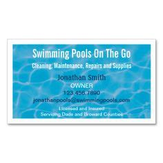 swimming pool business cards images business