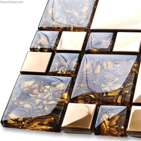 badroom gold adhesive glass mirror tiles 3d tile stickers