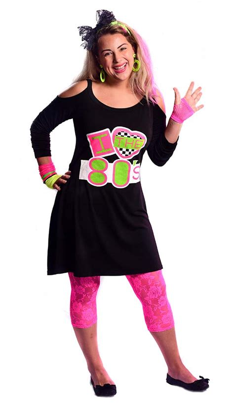 Womenu0026#39;s Black I Love the 80u0026#39;s Cold Shoulder Dress - Candy Apple Costumes - Womenu0026#39;s 80s Costumes