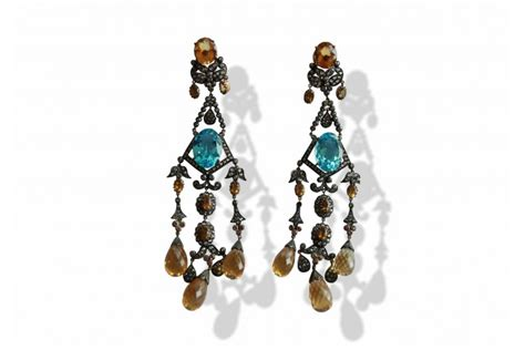 buy chandelier earrings with blue topaz in india at