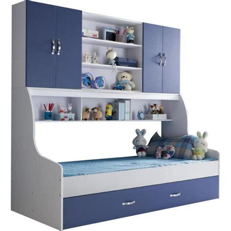 meuble mural chambre lit enfant bleu 90x200 avec tiroir et rangement mural