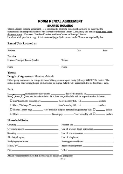 california room rental agreement printable