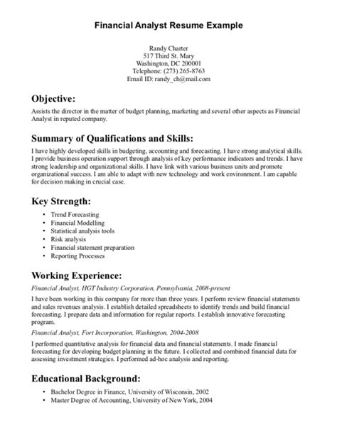 entry level financial analyst resume exles resumes design