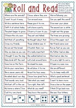 grade phonics sight word pack roll  read