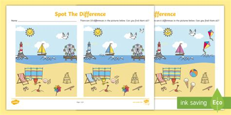 seaside spot  difference activity  sheets