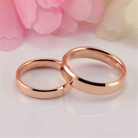 plated rose gold tungsten gold wedding rings couple rings