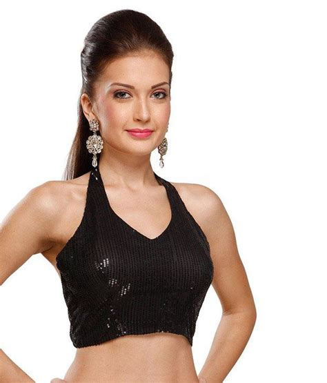 halter blouse 9rasa black halter neck georgette stitched saree blouse