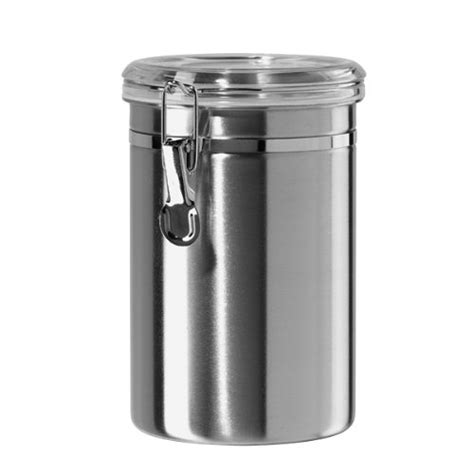 stainless steel canisters oggi 60 ounce stainless steel airtight canister with clear arylic lid and new ebay