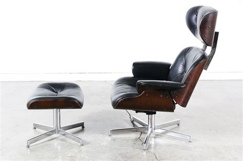 eames style black leather lounge chair vintage supply store