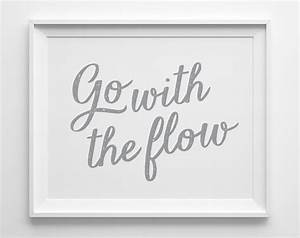 Go with the flow inspirational print motivational wall