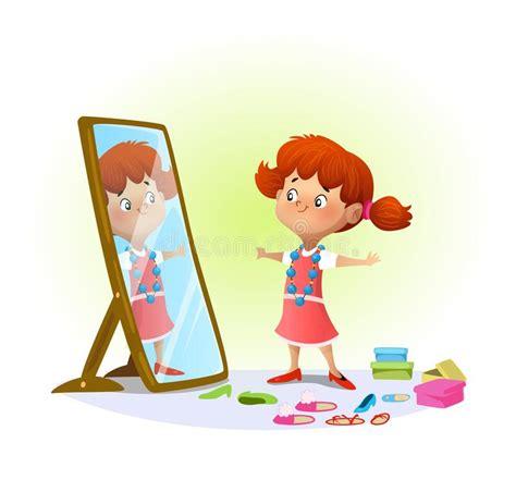 Beauty Little Girl Looking In The Mirror Stock Vector