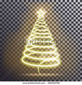 Golden Christmas Tree Light Tree Effect Stock Vector