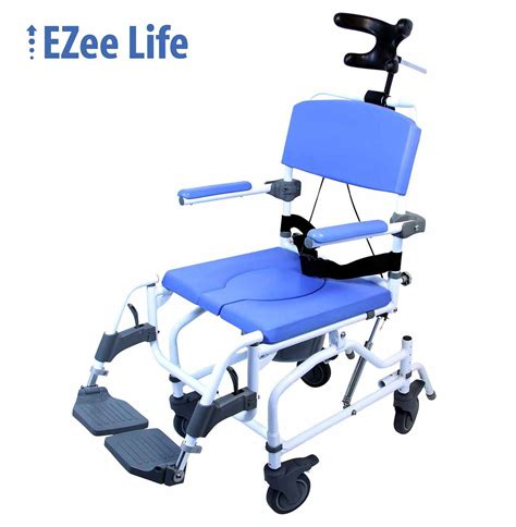 ezee aluminium tilt shower commode chair with four
