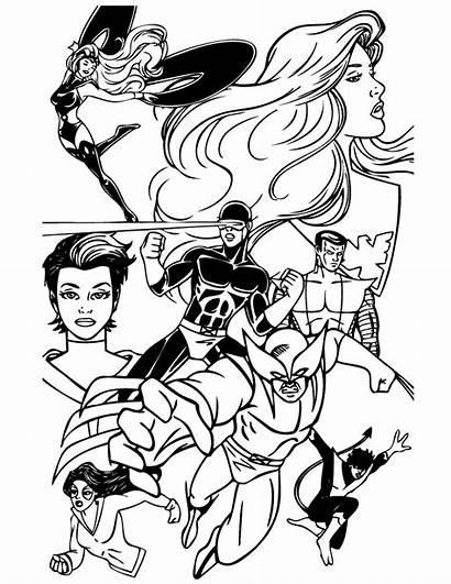 Coloring Superhero Printable Team Storm Ausmalbilder Marvel