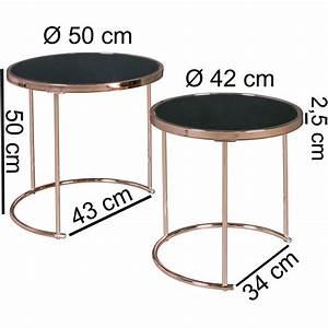 Glasplatte Rund 50 Cm : finebuy design couchtisch deco glas kupfer tisch 2er set satztisch 50 42 cm ~ Frokenaadalensverden.com Haus und Dekorationen