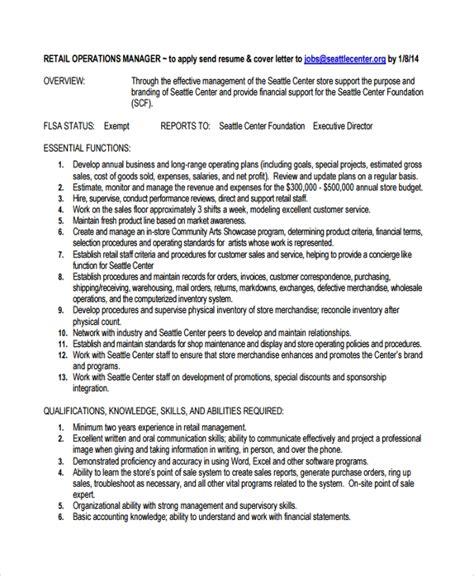Operations Manager Resume by Sle Director Of Operations Resume 7 Free Documents
