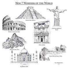 postcards   wonders   world  world wonders