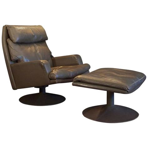 wide chair and ottoman large vintage leather swivel chair and ottoman for sale at