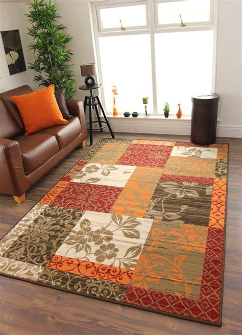 Burnt Orange And Brown Bathroom Rugs by Details About New Warm Orange Modern Patchwork Rugs