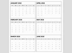 6 Month One Page Calendar 2018 Calendar 2018
