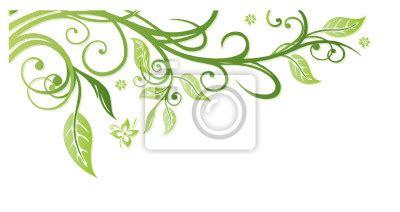 Blumenranke Grün Horizontal by Papier Peint Printemps Cadre Feuilles Feuilles Vigne