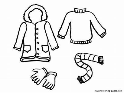 Winter Clothes Coloring Pages Printable Draw Clipart