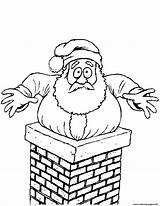 Chimney Santa Stuck Coloring Drawing Clipart Printable Claus Template Paper Drawings Through sketch template