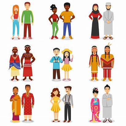 Vector Couples National African Icons Illustration Asian