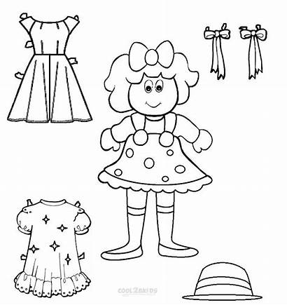 Doll Dolls Paper Coloring Printable Pages Templates