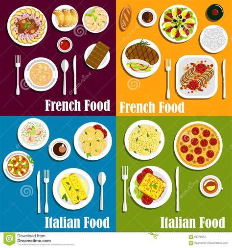 plats de cuisine plats de cuisine de l 39 italie et des frances illustration
