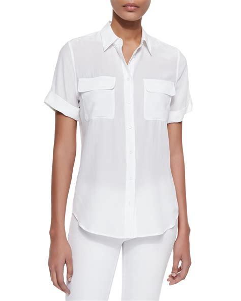 white blouse sleeve equipment sleeve slim signature silk blouse in white