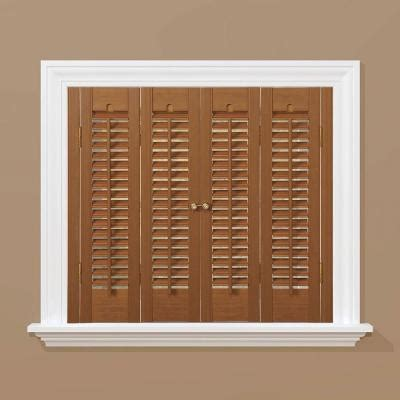wooden shutters interior home depot homebasics traditional faux wood oak interior shutter price varies by size qstb3520 the home