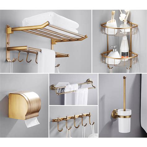 Accessories Set by 6 Antique Brass Wall Mount Gold Bathroom Accessories Set