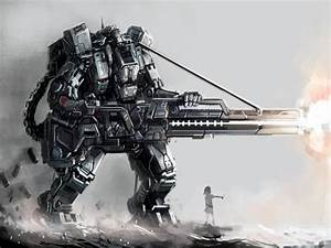 Mech Robot Weapon Gun Awesome Sci-Fi Cyberpunk Art 32x24 ...