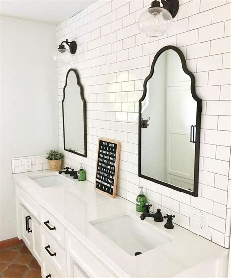 Black Framed Mirror Bathroom House Decorations Within
