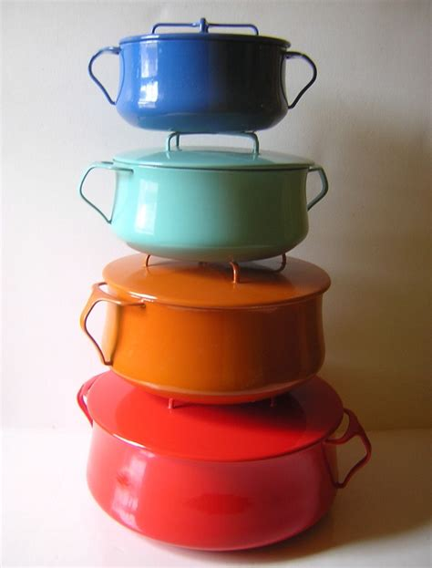 enamel cookware kobenstyle dansk pots kitchen enamelware ceramic cooking quistgaard jens ihq enameled pan dutch etsy pans pot oven retro