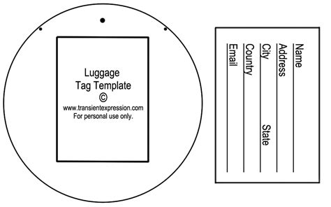 Luggage Tag Template Word - Costumepartyrun