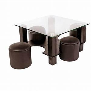 Table Basse Pouf Intégré : table basse en verre avec pouf chocolat yvelise achat vente table basse table basse en verre ~ Dallasstarsshop.com Idées de Décoration