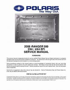 2008 Polaris Ranger 2x4 500 Carb Israel Service Repair Manual