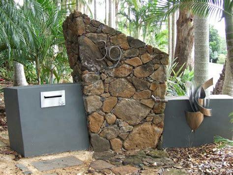 feature letter box design  stone wall  concrete