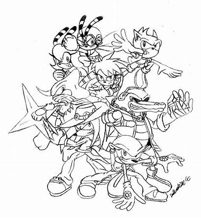 Sonic Coloring Pages Children Characters Printable Games