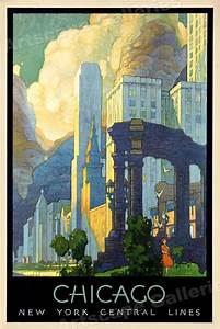 1920s Art Deco Chicago Vintage Style NY Central Line ...