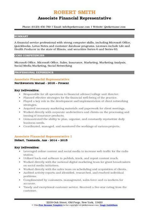 associate financial representative resume samples qwikresume