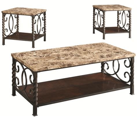 faux marble table l 3 piece occasional table sets 3pc occasional set w faux