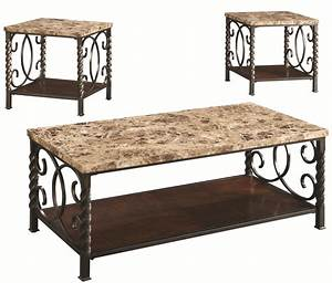 3 piece occasional table sets 3pc occasional set w faux With 3 piece marble coffee table set