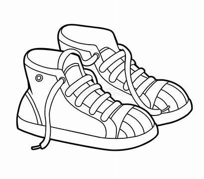 Sneakers Coloring Cartoon Shoe