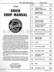 1950 Buick Repair Shop Manual Reprint