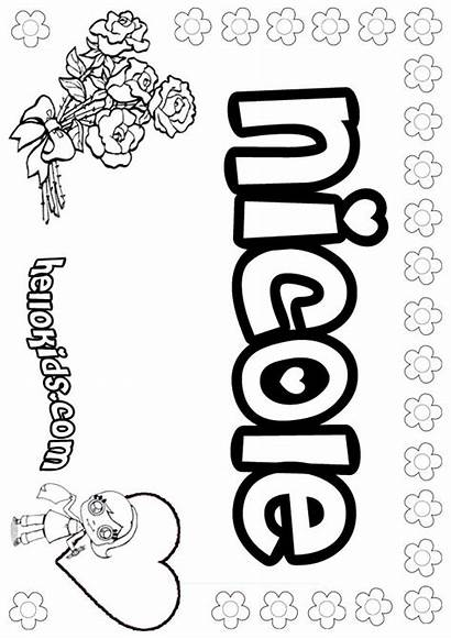 Nicole Coloring Pages Names Hellokids Girly Samantha