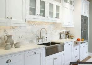 Tumbled Marble Kitchen Backsplash 4 White Calacatta Gold Marble Subway White Countertop Idea